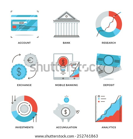 Thin line icons of banking account, e-banking service, financial analytics, foreign exchange and money investment strategy. Modern flat line design element vector collection logo illustration concept. - stock vector