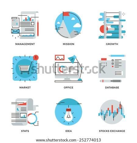 Thin line icons of corporate business management, financial report and statistics, office organization, stock market data. Modern flat line design element vector collection logo illustration concept. - stock vector