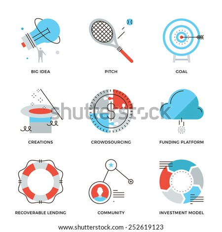 Thin line icons of crowd funding service, investing platform for creative project, startup model and community ideas. Modern flat line design element vector collection logo illustration concept. - stock vector