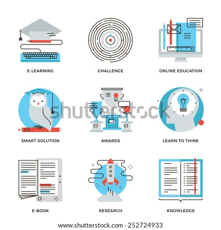 Thin line icons of e-learning graduation, online education, solving problem process, learn to think, power of knowledge. Modern flat line design element vector collection logo illustration concept. - stock vector