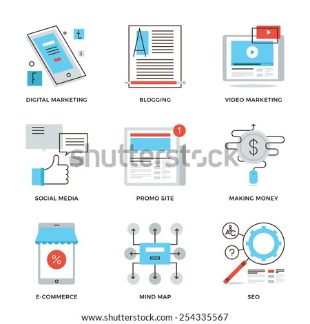 Thin line icons of social media marketing, digital campaign development, mobile e-commerce, viral video, website blogging. Modern flat line design element vector collection logo illustration concept. - stock vector