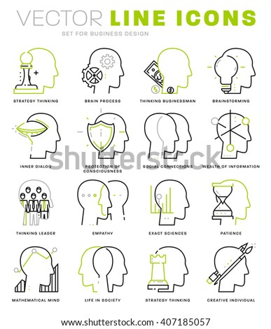 Thin Line Icons Set. Brain, Mind and Emotions for Websites, Banners, Infographic Illustrations. Simple Linear Pictograms Collection. Logo Concept for Trendy Designs. Premium Quality Pictogram Pack - stock vector