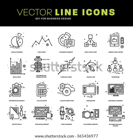 Thin Line Icons Set. Business Elements for Websites, Banners, Infographic Illustrations. Simple Linear Pictograms Collection. Logo Concepts Pack for Trendy Designs. - stock vector