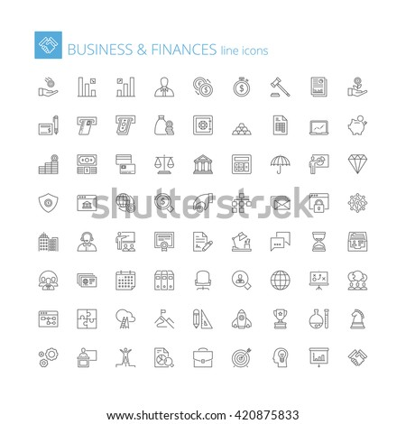 Thin line icons set. Flat symbols about business and finances - stock vector
