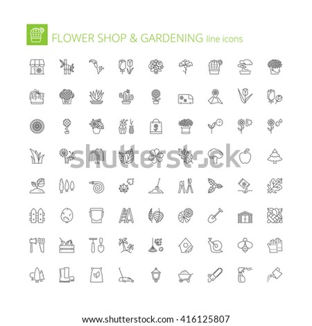 Thin line icons set. Flat symbols about flower shop and gardening - stock vector