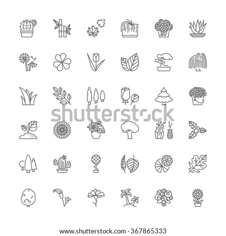 Thin line icons set. Flat symbols about flowers, plants and trees. - stock vector