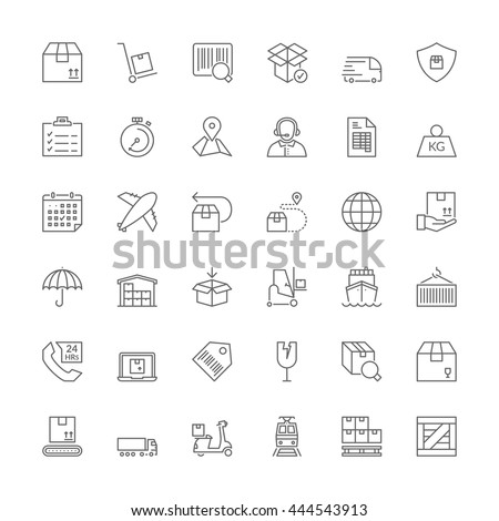 Thin line icons set. Flat symbols about shipping and logistics - stock vector