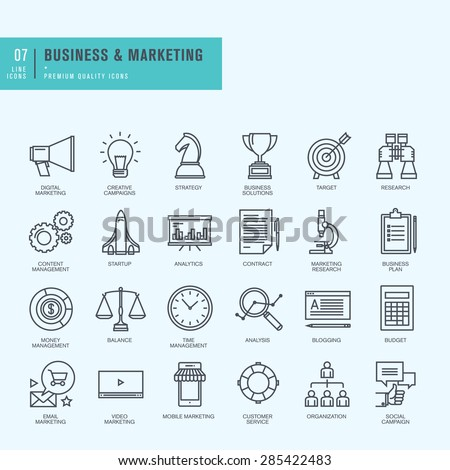 Thin line icons set. Icons for business, digital marketing.     - stock vector
