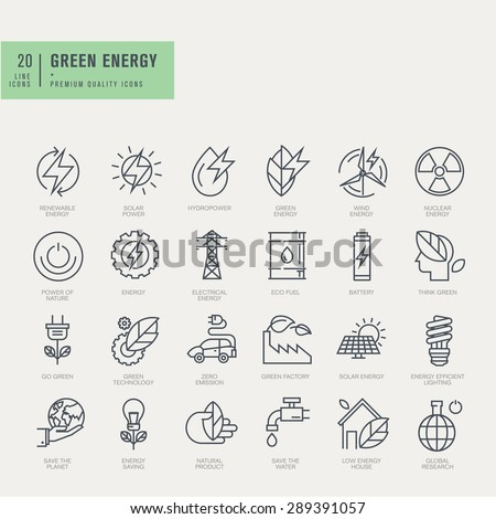 Thin line icons set. Icons for renewable energy, green technology. - stock vector