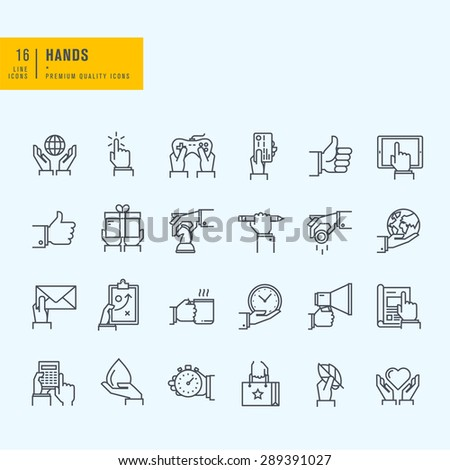 Thin line icons set. Icons of hand using devices, using money, in business situations, in design, ecology, marketing process. - stock vector