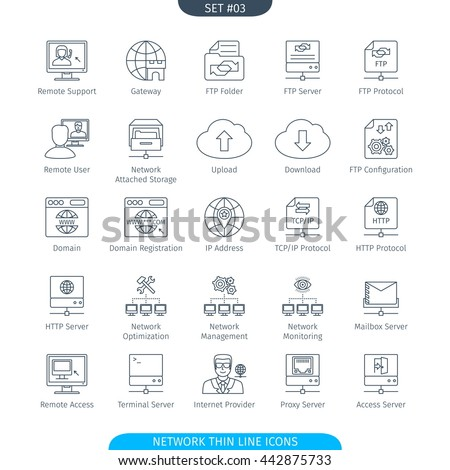 Thin Line Icons Set Of Data And Network. Web Elements Collection - stock vector
