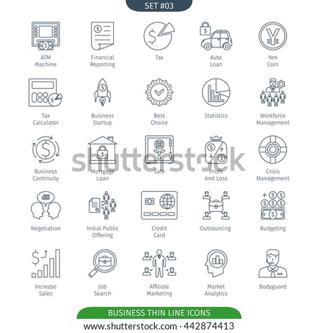 Thin Line Icons Set Of Finance And Business. Web Elements Collection - stock vector