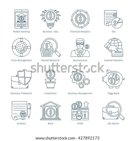 Thin Line Icons Set Of Finance And Business. Web Objects And Elements Collection - stock vector