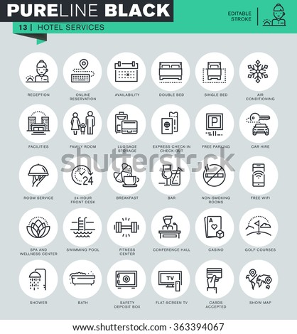Thin line icons set of hotel services and facilities, online booking, travel information. Icons for website and mobile website and apps with editable stroke.  - stock vector