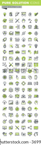 Thin line icons set of website and mobile website design and development, responsive design, seo, creative workflow, graphic design. Premium quality outline icon collection. - stock vector