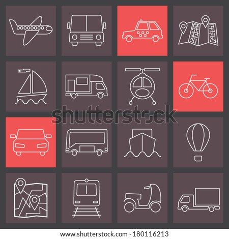 thin line icons set, transport collection - stock vector