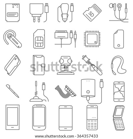 Thin line mobile shop and service vector icon set. - stock vector