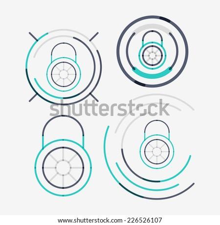 Thin line neat design logo set, clean modern concept, lock idea - stock vector