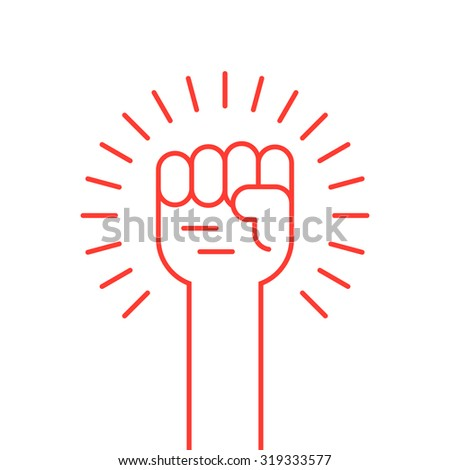 thin line red hand up icon. concept of soviet, radical, patriotic, solidarity, uprising, propaganda, military. isolated on white background. flat style modern logotype design vector illustration - stock vector