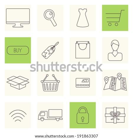Thin line shopping icons, internet shopping, buy online set, e-commerce icons. Vector illustration. - stock vector