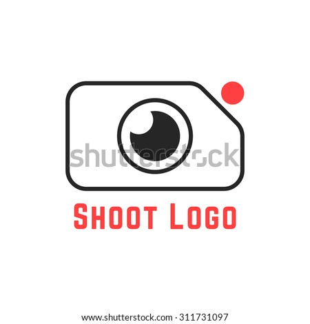 thin line simple shoot logo. concept of cameraman, camera icon, action camera, studio, recorder, rec cam. isolated on white background. flat style trend modern brand design vector illustration - stock vector