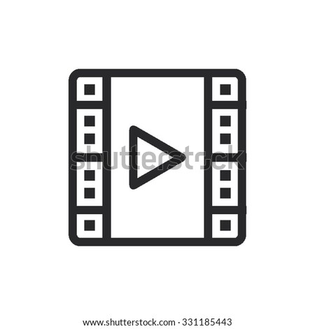 Thin Line Single Icon - Roll Of Film / Play - stock vector
