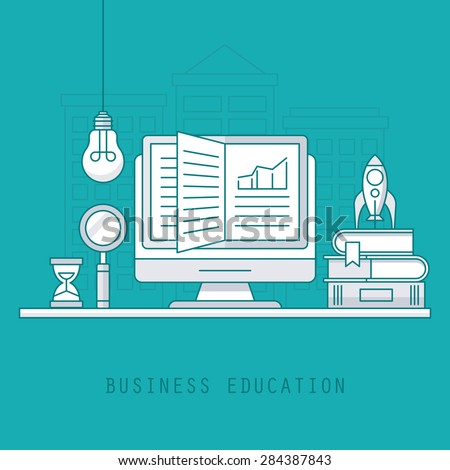 Thin line style design for business education concept. Flat vector elements for web applications and banners - stock vector