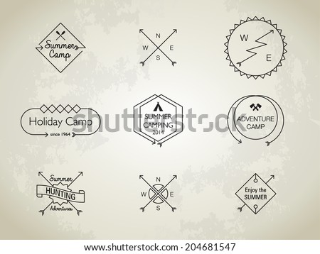 Thin Line Summer Camp Themed Badges - stock vector