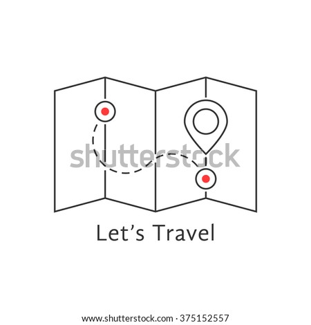 thin line travel map with pin. concept of locate, landmark, brochure, needle, searching, honeymoon, trip, guidance. isolated on white background flat style trend modern logo design vector illustration - stock vector