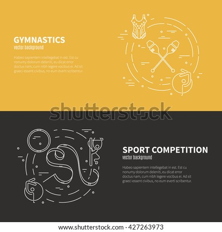 Thin line vector concept with rhythmic gymnastics equipment and elements. Sports and fitness vector series. - stock vector
