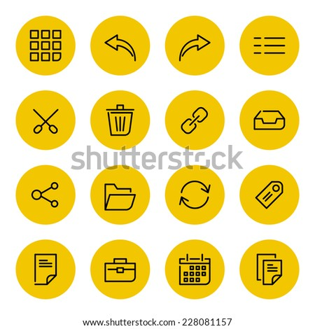 Thin line vector icons set for web site and mobile apps design black and yellow colors flat style. Objects and symbols: arrow, link, share, folder, portfolio, case,  tag, page, calendar, document - stock vector