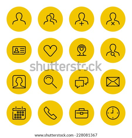 Thin line vector icons set for web site and mobile apps design black and yellow colors flat style. Objects and symbols: user, profile, business man, human, mail, speech bubble, network, social media - stock vector