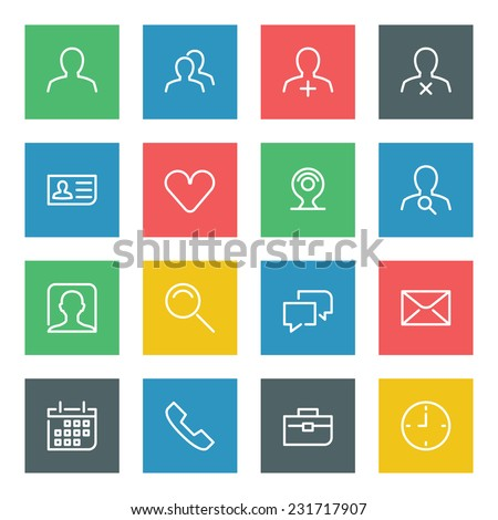 Thin line vector icons set for web site and mobile apps design colors flat style. Objects and symbols: user, profile, business man, human, mail, speech bubble, network, social media  - stock vector