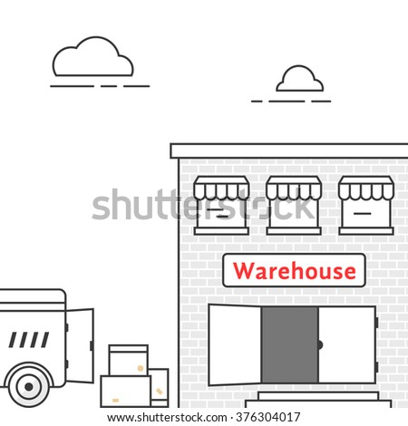 thin line warehouse with delivery vehicle. concept of lorry, stock, depot, truck transit, import export, van, courier. isolated on white background linear style trend modern design vector illustration - stock vector