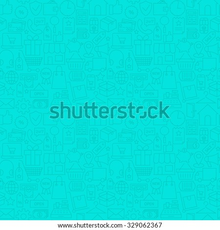 Thin Line Web E-Commerce Shopping Mint Seamless Pattern. Vector Retail Store and Market Design and Seamless Background in Trendy Modern Line Style. Thin Outline Art - stock vector