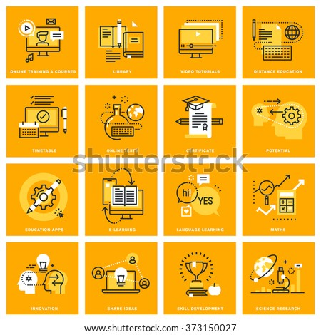 Thin line web icons of e-learning, video tutorials, online courses, e-book and library. Vector illustration concepts for graphic and web design. - stock vector