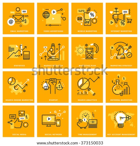 Thin line web icons of internet marketing and advertising, social network, market research, startup, search analytics, management. Vector illustration concepts for graphic and web design. - stock vector