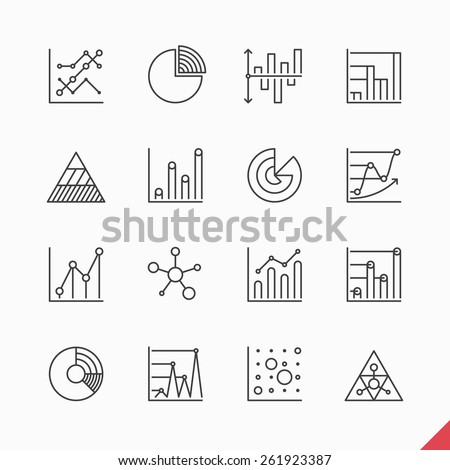 Thin linear business data market Infographic elements icons set with variety of bar, pie, area charts vector illustration - stock vector