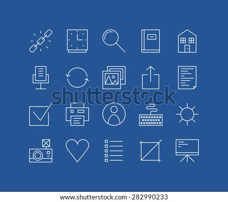 Thin lines icons set of basic web elements, user interface things, various office and management symbol, work presentation tools. Modern infographic outline vector design simple logo pictogram concept - stock vector
