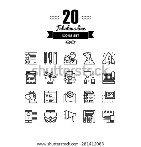 Thin lines icons set of business startup solution, company brand development, web workflow production tools, marketing services. Modern infographic outline vector design, simple logo pictogram concept - stock vector