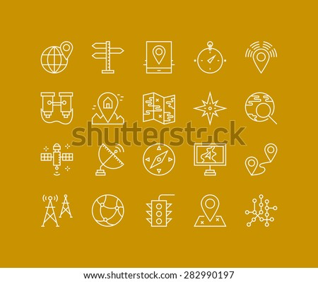 Thin lines icons set of geo-location mapping pin, global positioning system navigation, geo targeting marker, satellite signal. Modern infographic outline vector design, simple logo pictogram concept. - stock vector