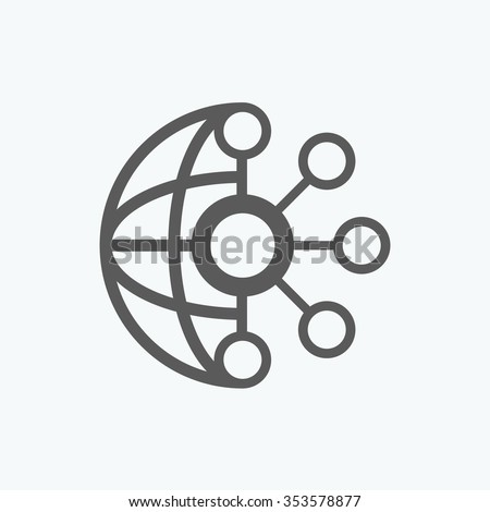 Thin lines icons set of global communication - stock vector