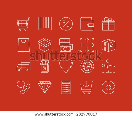 Thin lines icons set of internet shopping elements, retail store service, online shopping goods, buying product via internet. Modern infographic outline vector design, simple logo pictogram concept. - stock vector