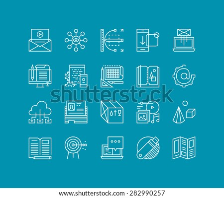 Thin lines icons set of marketing development process, product creating and promotion tools, website network optimization work. Modern infographic outline vector design, simple logo pictogram concept. - stock vector