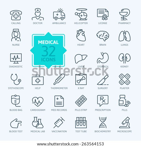 Thin lines web icon set - Medicine and Health symbols  - stock vector