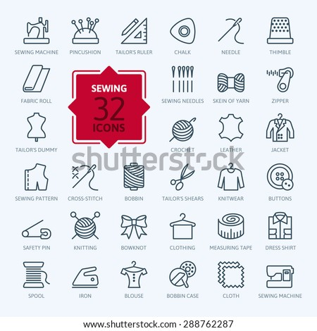 Thin lines web icon set - sewing equipment and needlework - stock vector