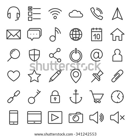 Thin lines web icons set for mobile apps and websites - stock vector