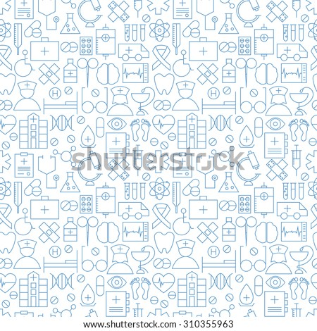 Thin Medical Line Health Care White Seamless Pattern. Vector Medicine Design and Seamless Background in Trendy Modern Line Style. Thin Outline Art - stock vector