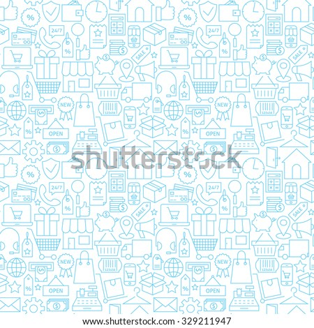 Thin Shopping Retail Line White Seamless Pattern. Vector E-commerce Online Store and Marketplace Design Background Trendy Modern Line Style. Thin Outline Art - stock vector