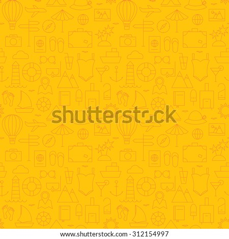 Thin Summer Line Travel and Resort Yellow Seamless Pattern. Vector Vacation Design and Seamless Background in Trendy Modern Line Style. Thin Outline Art - stock vector